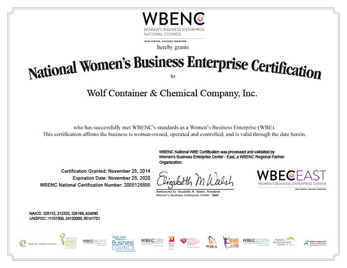 National Women's Business Enterprise Certification