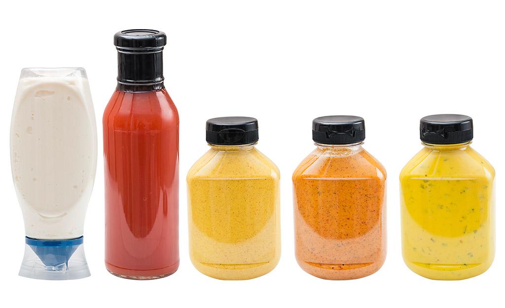 Ketchup, mayonnaise and mustard plastic bottles